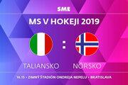 Taliansko - Nórsko, zápas MS v hokeji 2019, skupina B. Sledujte online prenos na SME.sk.