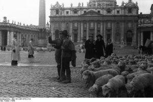 Pastier hovorí s nemeckým vojakom, zatiaľ čo ovce čakajú. Fotografia zachytáva Piazza San Pietro (Námestie sv. Petra) v roku 1943.