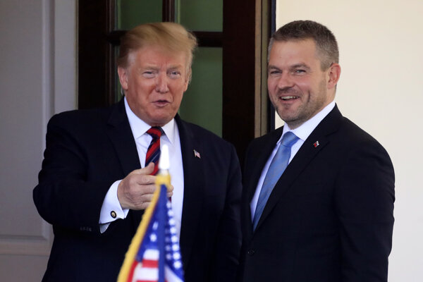 Americký prezident Donald Trump a slovenský premiér Peter Pellegrini vo Washingtone.
