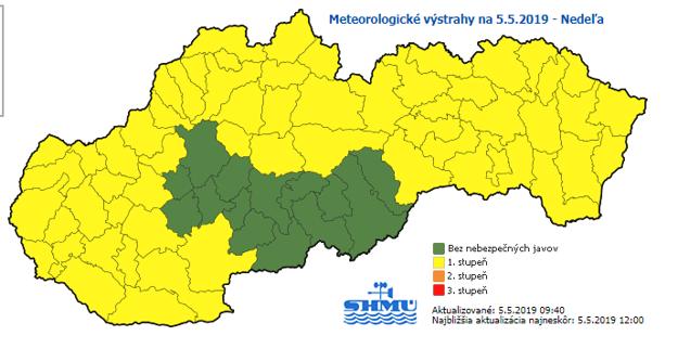 Meteorologické výstrahy na nedeľu 5.5.2019