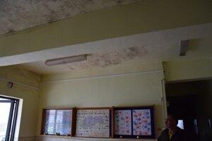 Hneď vo vstupnej hale stačí zdvihnúť hlavu a uvidíte plesnivý strop.