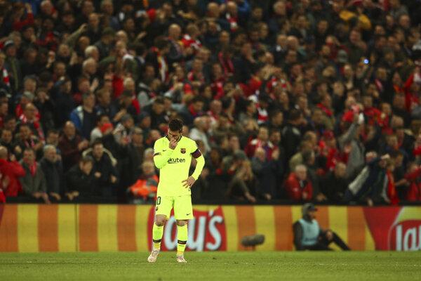 Lionel Messi počas zápasu FC Liverpool - FC Barcelona v semifinále Ligy majstrov.