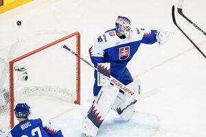 Patrik Rybár v zápase Slovensko - Kanada na MS v hokeji 2019.