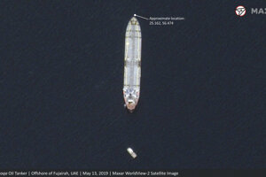 Saudský tanker pri pobreží emirátu Fudžajra.