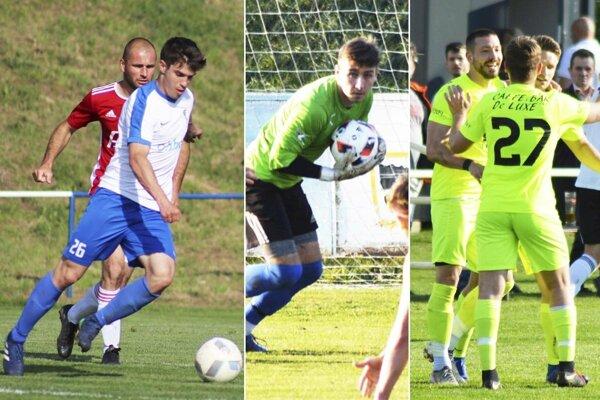 1) S loptou Martin Antl z V. Zálužia. 2) Adam Rutič zahodil brankárske rukavice a ako stredopoliar strelil dva góly. 3) Michal Béger zariadil výhru Lapáša v Čeľadiciach.