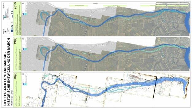 Mapa časi povodia Moravy na rakúsko-slovenských hraniciach z rokov 1896, 1993 a 2016. Ukazuje, ako sa rieka vyvíjala v čase. KLIKNITE PRE ZVÄČŠENIE.