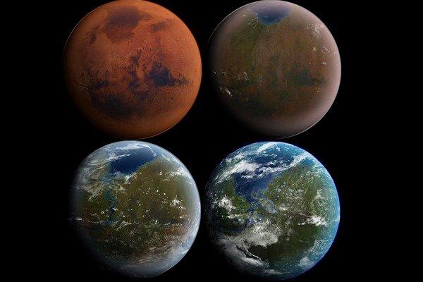 Umelecká predstava, ako by vyzeral meniaci sa Mars.
