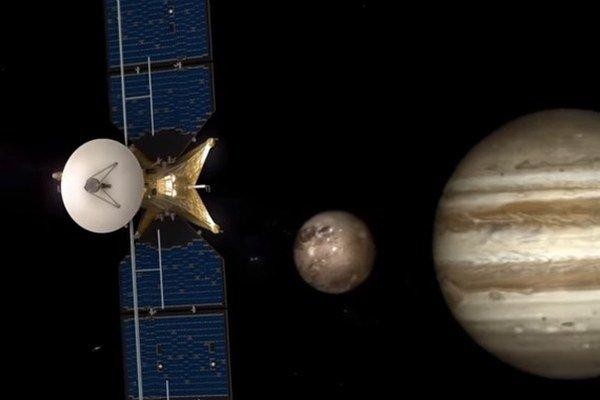 Vizualizácia misie na Jupiterov mesiac Európa.