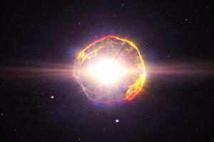 Umelecká predstava supernovy - explózie, ku ktorej dochádza na sklonku života hviezdy.