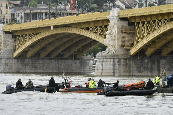 Záchranári počas prehľadávania Dunaja v Budapešti.