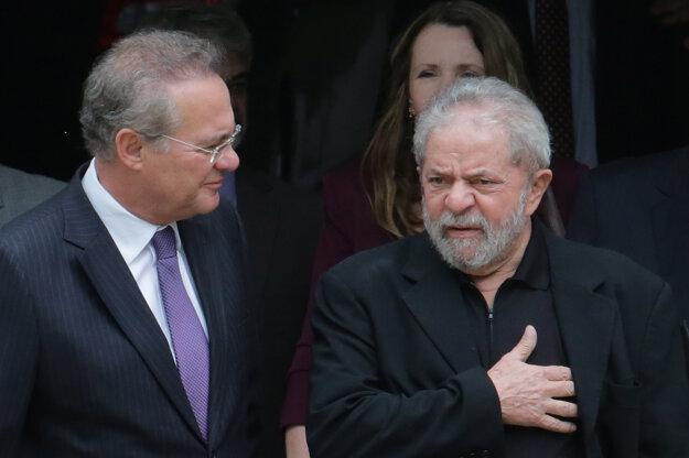 Bývalý brazilský prezident da Silva (vpravo) v rozhovore s prezidentom senátu Calheirosom.