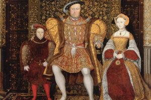 """Na poslednom obraze s deťmi sa dal kráľ zobraziť s treťou ženou Janou Seymourovou (vpravo), ktorú považoval za svoju """"skutočnú a milujúcu manželku"""". Dala mu totiž vytúženého syna za cenu vlastného života."""