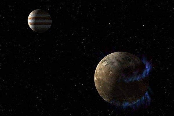 Jupiter a Ganymede (dole vpravo) s polárnou žiarou.