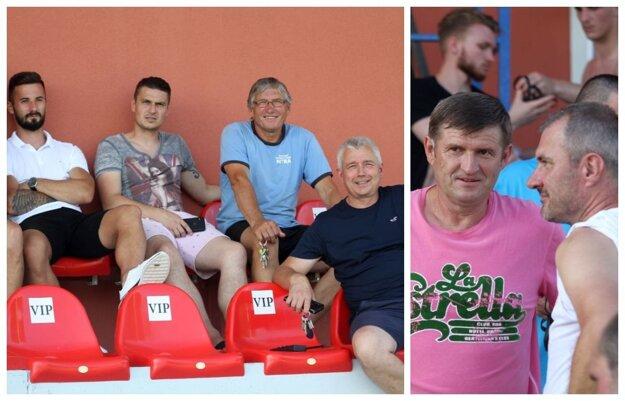 Alekšinská klíma žičila futbalovým debatám: vpravo Michal Hipp (v ružovom), asistent trénera Kazachstanu, so Stanislavom Vargom, koučom B. Bystrice; vľavo tunajší činovníci Peter Mikula (dole), Jozef Brath a Ján Štajer (hore zľava) pózujúci s ešte stále futbalistom Nitry Tomášom Vestenickým.