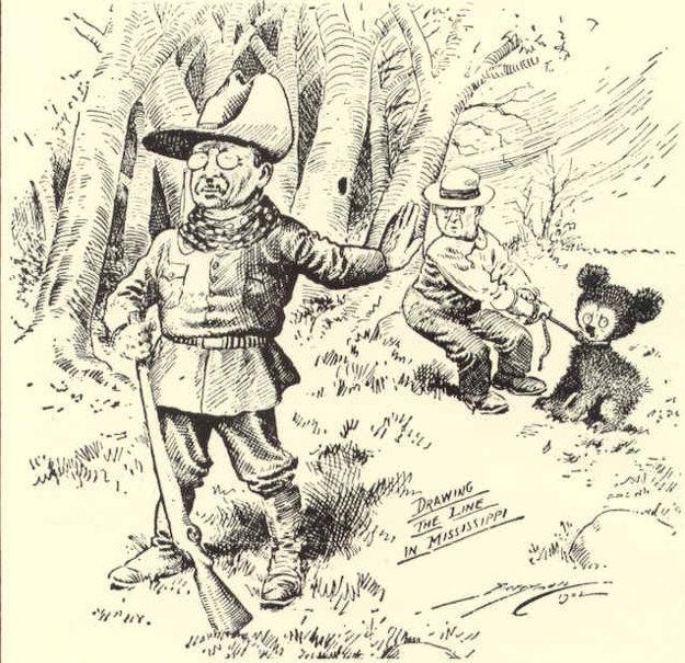 Karikatúra slávneho lovu z roku 1902, kedy Roosevelt odmietol zabiť medveďa čierneho.