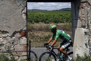 Peter Sagan v zelenom drese na trati etapy počas Tour de France 2019.