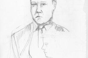 Ako vznikali kresby. Portrét advokáta a bývalého ministra spravodlivosti a vnútra Daniela Lipšica. Zastupuje televíziu Markíza.