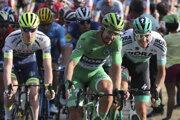 Peter Sagan v zelenom drese na čele pelotónu počas záverečnej 21. etapy slávnych pretekov Tour de France so štartom v Rambouillet a cieľom v Paríži v nedeľu 28. júla 2019.