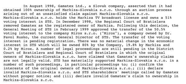 Výročná správa CME za rok 1999 veľmi presne opisuje situáciu v Markíze, a to vrátane nezákonnej exekúcie, ktorú viedol Gamatex na televízny podnik.