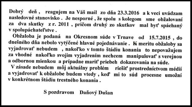 Stanovisko advokáta Dušana Daňového v plnom znení.