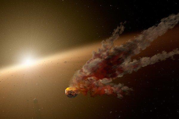 Umelecké zobrazenie zrážky okolo hviezdy NGC 2547-ID8.