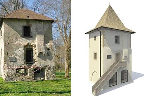 Vľavo súčasný stav veže, vpravo navrhovaný po rekonštrukcii.