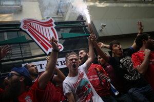 Fanúšikovia FC Liverpool pred Superpohárom UEFA medzi FC Liverpool - Chelsea Londýn.