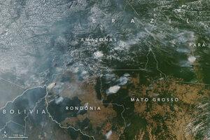 V amazonskom pralese je v súčasnosti obdobie súch. Satelity NASA zachytili z vesmíru niekoľko požiarov na zábere z dňa 11. augusta 2018.
