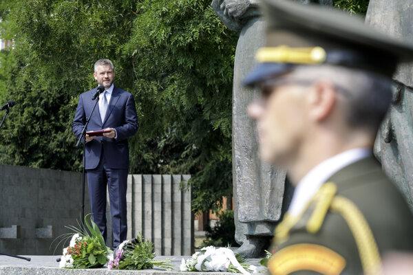 Peter Pellegrini počas pietneho aktu pri príležitosti 75. výročia Slovenského národného povstania pri Pamätníku SNP v Bratislave.