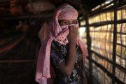 Rohingská žena v utečeneckom tábore v Bangladéši.