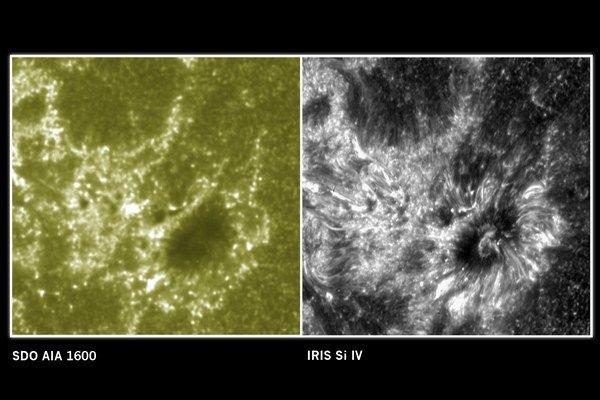 Kombinovaná snímka observatórií SDO a IRIS.