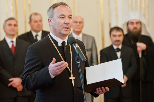 Generálny biskup ECAV na Slovensku Miloš Klátik v januári 2016 v Prezidentskom paláci, keď prezident Andrej Kiska prijal zástupcov cirkví a náboženských spoločností.