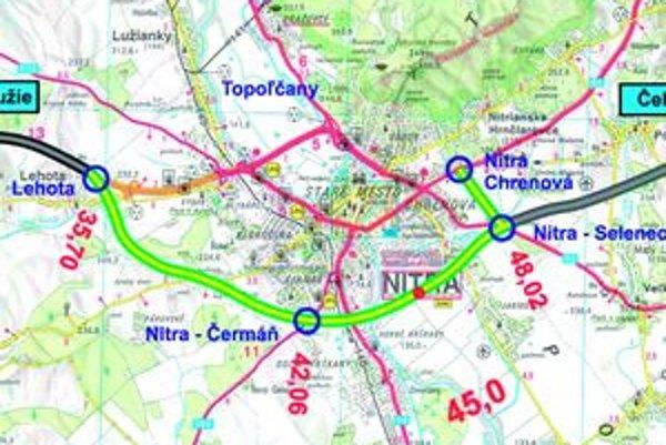 Trasa juhovýchodného obchvatu Nitry, ktorý bude súčasťou novej rýchlostnej cesty Nitra - Tekovské Nemce.