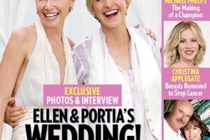 Moderátorka Ellen DeGeneres a herečka Portia de Rossi sa zosobášili v roku 2008 o ich svadobné odevy sa postaral návrhár Zac Posen.