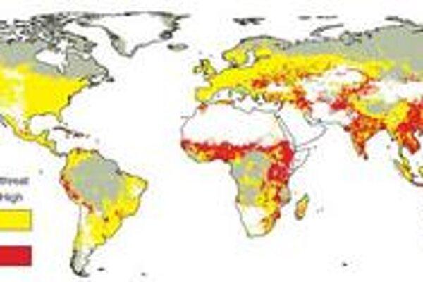 Tmavé oblasti sú najohrozenejšie.