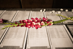Zoznamy mien obetí holokaustu v Mestskom divadle P. O. Hviezdoslava počas 10. ročníka Čítania mien obetí holokaustu pri príležitosti Pamätného dňa obetí holokaustu a rasového násilia za účasti prezidentky SR. Bratislave.