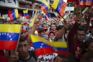 Demonštrácia vo Venezuele.