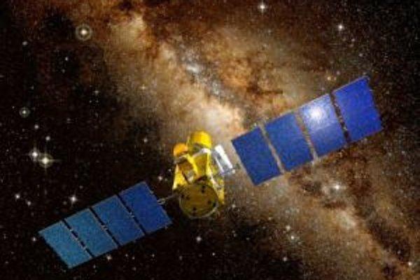 Umelecká vízia satelitu COROT na obežnej dráhe okolo Zeme.