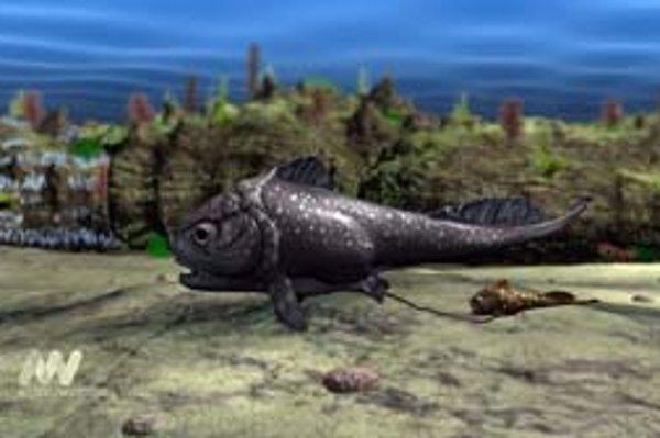 Umelecká vízia pancierovej ryby s mláďaťom po pôrode, dosiaľ sú spojené pupočnou šnúrou.