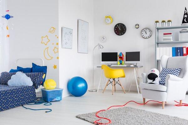 V detskej izbe by mal byť priestor na učenie sa, spánok i hru.