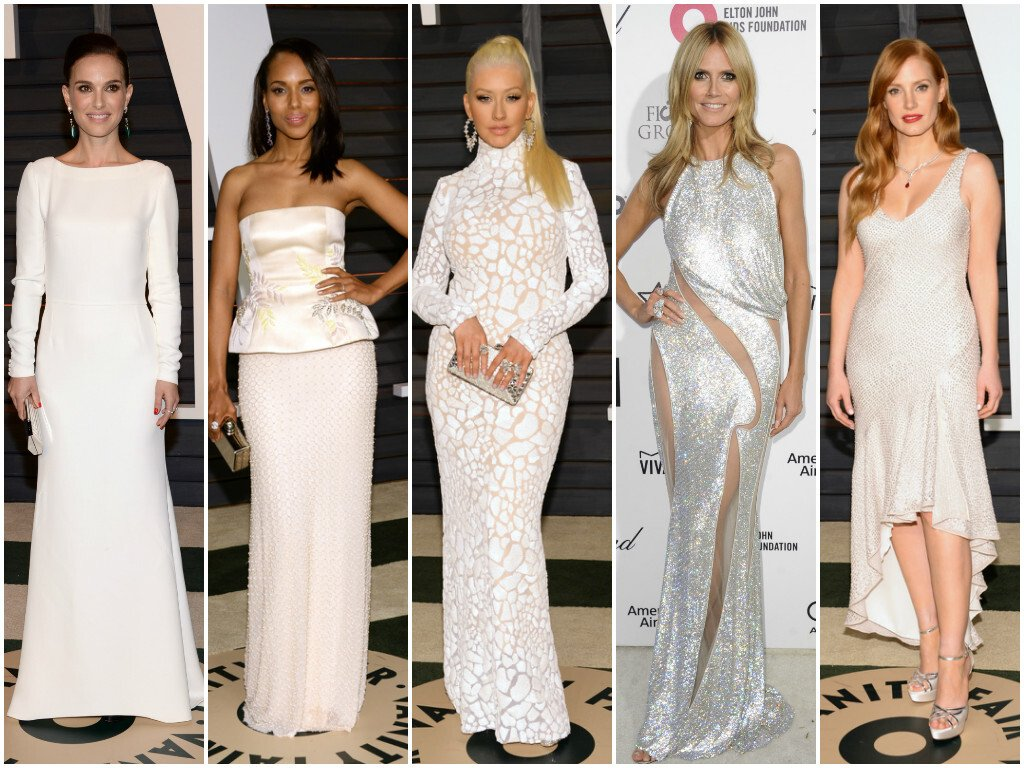 Zľava: Natalie Portman, Kerry Washington, Christina Aguilera, Heidi Klum, Jessica Chastain
