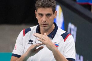 Tréner Slovenska Andrej Kravárik v zápase B-skupiny na ME vo volejbale mužov Slovensko - Belgicko.