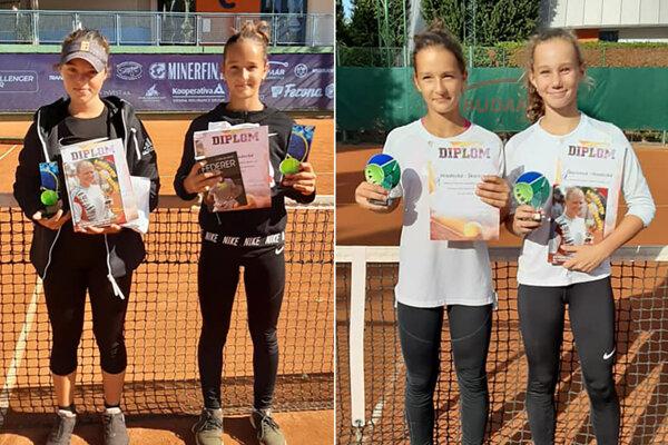 Vľavo finalistky dvojhry - Nováková a Hradecká. Vpravo víťazky štvorhry - Hradecká so Škoricovou.