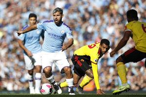 Sergio Aguero v zápase proti Watfordu.