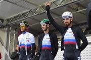 Sprava Peter Sagan, Erik Baška a Ján Andrej Cully pred štartom MS v cyklistike 2019.