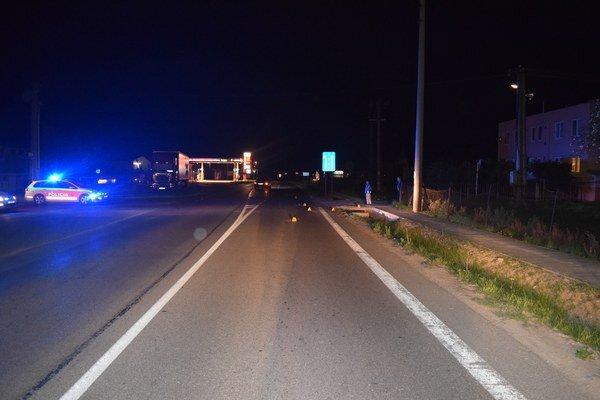 Miesto dopravnej nehody v Drietome.