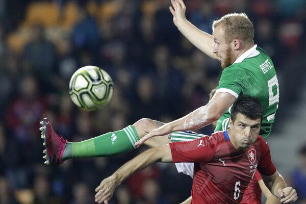 Momentka zo zápasu Česko - Severné Írsko.