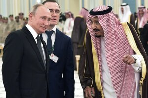 Ruský prezident Vladimir Putin a saudský kráľ Salmán.