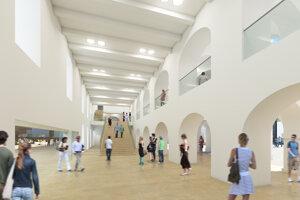 Interiér vstupnej haly Vodných kasární a vstupu od Námestia Karola Vaculíka s variantom s pavlačou.