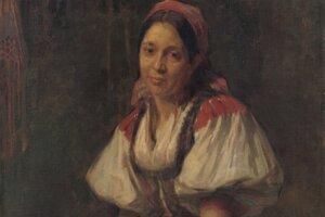 Elemír Halász-Hradil: Sedliacka žena v kroji, okolo roku 1910